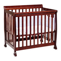 Da Vinci - DaVinci Kalani Convertible Mini Wood Crib in Cherry Finish - Da Vinci - Cribs - M5598C - Kalani is cool and confident. It's DaVinci at its best. With first class engineering the Kalani Mini Crib gives baby years of sweet serenity in a smaller package. In one simple conversion this mini crib becomes a twin bed for when baby's all grown up. It's Cool. It's Kalani.