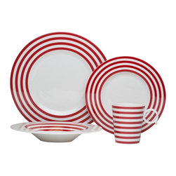 Freshness Lines Red 4Pc Place Setting - The Freshness collection brings a vibrant burst of color into your home.  Adorned with vertical lines, solid bands and dots in a variety of hues, this four piece place setting is perfect for casual and formal entertaining alike.