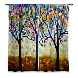 "DiaNoche Designs - Window Curtains Lined by Lam Fuk Tim Flowering Season - Purchasing window curtains just got easier and better! Create a designer look to any of your living spaces with our decorative and unique ""Lined Window Curtains."" Perfect for the living room, dining room or bedroom, these artistic curtains are an easy and inexpensive way to add color and style when decorating your home.  This is a woven poly material that filters outside light and creates a privacy barrier.  Each package includes two easy-to-hang, 3 inch diameter pole-pocket curtain panels.  The width listed is the total measurement of the two panels.  Curtain rod sold separately. Easy care, machine wash cold, tumble dry low, iron low if needed.  Printed in the USA."