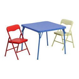 """Flash Furniture - Kids Colorful 3 Piece Folding Table and Chair Set - This child sized folding table set is perfect for toddlers. Children can enjoy a table of their own for eating, reading, creating and playing. This table can be used outdoors so children can enjoy playtime outside or for a comfortable picnic setting. The easy to clean vinyl padded table top is great for toddler use. The padded colorful folding chairs are lightweight so children can easily transport their own chair. Multi-Purpose Kids Table Set; Easy to Move and Store; CA117 Sponge Foam Padding; Designed for Indoor or Outdoor Setup; Set Includes: Square Folding Table & 2 Folding Chairs; Folding Table Features:; Blue Metal Vinyl Folding Table; .1875"""" Thick Table Top; 70 lb. Distributed Weight Capacity; Blue Powder Coated Legs; Plastic Floor Glides; Folding Chair Features:; Metal Folding Chairs in Red and Yellow; Vinyl Upholstered Seat and Back; Overall Dimensions: 12.5""""W x 13.5""""D x 21.25""""H; Back Size: 12.5""""W x 10""""H; Seat Size: 10.5""""W x 10.5""""D x 12.25""""H; 81 lb. Static Load Capacity; Powder Coated Legs; Plastic Floor Glides; Overall dimensions: 24""""W x 24""""D x 20.25""""H"""