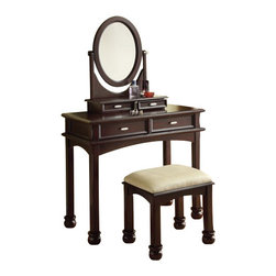"Acme - Amherst 3 PC Espresso Finish Wood Make Up Dressing Table Vanity Set with Stool - Amherst 3-Piece espresso finish wood make up dressing table vanity set with stool and oval mirror. This set includes the vanity with 4 drawers with classic styling, the oval mirror and the padded stool with turned legs. Vanity measures 38"" x 18"" x 30"" H. Jewelry Mirror measures 20"" x 24"". stool measures 19"" x 15"" x 18"" H. Some assembly is required."