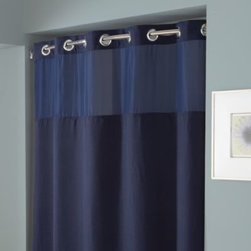 """Hookless - Hookless Waffle 71-Inch x 74-Inch Fabric Shower Curtain and Liner Set in Navy - This innovative shower curtain and liner offer no hassles thanks to their """"split ring"""" hookless design that lets you hang them in less than 10 seconds."""