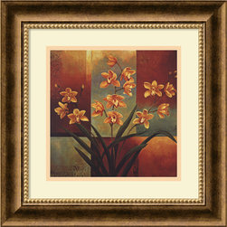 Amanti Art - Orange Orchid Framed Print by Jill Deveraux - Your friends may think you heisted this piece from a museum when they see the gorgeous framed fine art on your wall. The attention-getting combination of artist Jill Deveraux's immense talent custom framed in burnished bronze will wow them all.