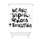 DENY Designs - Kal Barteski Superheroes Shower Curtain - You may not feel glamorous when you are doing the laundry or your taxes, but in your mind's eye, you are wearing a cape and shiny red Bowie boots. When life gets a little mundane, this printed shower curtain offers a playful, hand-scripted reminder that you are one of a kind.