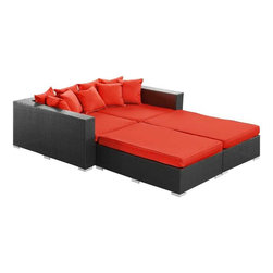 Modway - Palisades 4 Piece Daybed in Espresso Red - Rejoice in the splendor of a completely formed outdoor bedding environment. View from afar as you silently take in the sights and sounds around you for proper effect. Make your initial movements toward transformation with this splendid flowing piece of absolution and resolve.
