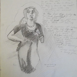 """""""Untitled (sketchbook page)"""" Artwork - This is an early sketchbook page. There is a drawing taken from an Ernst Ludwig Kirchner painting on the left. On the right is some free verse poetry."""
