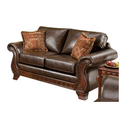 Chelsea Home - Jefferson Upholstered Loveseat - Includes two toss pillows. Traditional style. Loveseat with new era PU walnut cover. Pillows with Thailand spice cover. Attached back cushions. 100 % poly upholstery. Medium seating comfort. Double springs on the ends nearest the arms for balanced seating. Sinuous springing system for uniform seating. Reinforced 16-gauge border wired system. Long lasting and solid kiln dried hardwood frame. Made in USA. No assembly required. 76 in. L x 39 in. W x 38 in. H (100 lbs.)