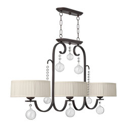 Fredrick Ramond - Fredrick Ramond FR49437RCO Prosecco Traditional Kitchen Island / Billiard Light - Prosecco features a whimsical design in a Renaissance Cooper finish with delicate hand-blown glass ornaments  crystal beads and ivory hand-sewn pleated shades.