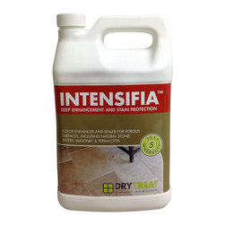 Drytreat - Intensifia™ Deep Enhancement & Stain Protection  (1 Gallon) - Intensifia™  is a breathable, semi surface / semi impregnating treatment, which enriches and enhances the natural color of porous surfaces as well as providing super oil and water repellency for superior stain protection. Treated indoor and outdoor surfaces are easier to clean and keep looking good for longer.