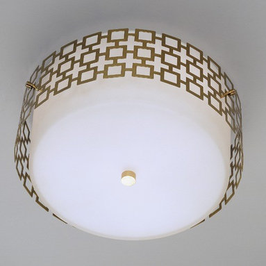 """Robert Abbey - Jonathan Adler Parker Flush Mount - This one of a kind three light flush mount is part of the Parker Collection of lighting fixtures. A unique decorative light, it features a white frosted cased glass shade with perforated metal covered in a polished nickel finish. This unique flush mount will add personality to any room. Features: -Flush mount. -Parker Collection. -Designed by Jonathan Adler. -White frosted cased glass shade. -Direct wire only. Specifications: -Accommodates (3) 75W max type A bulbs (not included). -Canopy dimensions: 1"""" H x 12"""" Diameter. -Overall dimensions: 7.25"""" H x 14.25""""- 15.25"""" Diameter. Jonathan Adler was born and raised in New Jersey. He laid the foundation to his design career by making pots at a summer camp in 1978, discovering his passion. After studying semiotics and art history at Brown University, Jonathan turned his passion into a fulltime job. Jonathan Adler further developed his career by expanding his design into new categories including lighting, bedding, towels, and stationery. His lighting designs have been celebrated for the modern shapes, energetic colors, and exciting patterns that are the hallmark of all of his work today. His Parker Collection is often featured in luxury hotels such as the Parker Palm Springs Hotel. Adler combines a modern style with a cozy feeling to create wonderful lights. Adler currently has stores and boutiques across the country. His home designs have appeared on the sets of The Today Show, Sex and the City, Will and Grace, and The Apprentice. Jonathan Adler also currently serves as the lead judge on the hit Bravo show Top Design."""