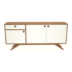 Seed Furniture - The MacArthur Credenza - Take a look at our classic credenza, featuring walnut plywood casing, white lacquered doors and drawers, with walnut handle detail.