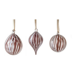 Working Man Hand Made - Set Of Purple And White Ribbon Cane Holiday Ornaments - All of our holiday ornaments are made using traditional Italian glass blowing techniques accentuated by bright and festive colors. Our line of transparent ornaments will brighten your holiday season!