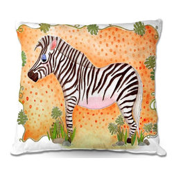 DiaNoche Designs - Pillow Woven Poplin from DiaNoche Designs by Marley Ungaros Zebra Orange - Toss this decorative pillow on any bed, sofa or chair, and add personality to your chic and stylish decor. Lay your head against your new art and relax! Made of woven Poly-Poplin.  Includes a cushy supportive pillow insert, zipped inside. Dye Sublimation printing adheres the ink to the material for long life and durability. Double Sided Print, Machine Washable, Product may vary slightly from image.