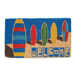 Entryways - Surfboards Hand Woven Coconut Fiber Doormat - Single Doormat, hand-woven, hand-painted, hand-stenciled, fade resistant, natural coir (coconut fiber), durable, best location is covered area, shake or sweep clean.
