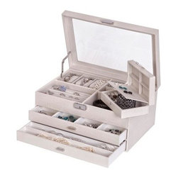 Mele Alana Jewelry Box - 13.25W x 6.25H in. - Additional FeaturesSoft ivory suede fabric liningTravel case has hinged earring card dividerAlso has open section ring rolls and snap closureBeautiful clear lidSilver tone lock key and hardwareLock away your favorite jewelry with the Mele Alana Jewelry Box. This large jewelry box is crafted from faux croc leather in snow white and features two drawers and a top compartment with a take-away travel case. One drawer has 12 equally divided sections while the other drawer has six lengthwise sections. The top compartment features three sections with padded watch cushions six equally divided sections ring rolls and a compartment for the take away travel case. The travel case is a small jewelry box unto itself with a hinged earring card divider open section ring rolls snap closure and the same soft ivory suede fabric liner that's in the larger jewelry box. The silver tone lock key and hardware add the perfect complementing touch to this jewelry box.About MeleEmidio Mele an Italian immigrant to the United States came to New York City in 1896 and learned to make jewelry boxes as an apprentice before founding Mele Manufacturing in 1912. He began by designing and building elegant displays for jewelry store windows. His jewelry box-making business grew throughout the 1900s responding to demands for boxes to hold Purple Hearts during WWII and developing as a popular household name for quality jewelry boxes. Today Mele Jewelry Box is known as the Mele Companies which encompass various divisions under the Mele name. Now based in Utica N.Y. Mele still upholds the family atmosphere on which it was founded and remains America's foremost name in jewelry cases.
