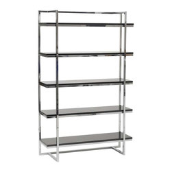 Eurostyle - Eurostyle Gilbert 5 Shelf Unit w/ Chromed Steel Frame in Black Lacquer - 5 Shelf Unit w/ Chromed Steel Frame in Black Lacquer belongs to Gilbert Collection by Eurostyle Gilbert designs office furniture with excellent bones. Strength and functionality come together in a line of basic office pieces that are hard-working, long lasting, and no nonsense classics. Seriously. If you've ever wondered what's holding things up in your office��_��__this is it. The strongest, exposed steel frame is chromed and supports high gloss shelving. You want to make a statement at work? Say no more. Shelf Unit (1)