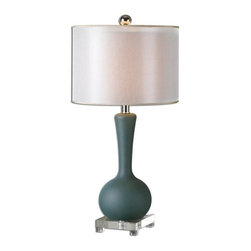Matthew Williams - Matthew Williams Denise Slate Blue Transitional Table Lamp X-1-67762 - Heavily frosted slate blue glass accented with a crystal foot and brushed aluminum details. The double hardback shades are a golden champagne inner shade with a warm champagne, silken sheer outer shade.