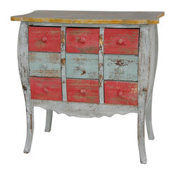 "Oriental Furniture - Distressed Nine Drawer Medicine Cabinet - Nine drawer medicine cabinet hand constructed from Philippine mahogany, accentuating a  bowed wood frame, carved apron, and scalloped top. Finished in distressed yellow, light blue, and red with matching painted wood drawer pulls. Fun faux-antique furniture, perfect for storing trinket collections, crafting supplies, gloves and scarves, or odds and ends.Rustic nine drawer medicine cabinetDistressed shades of powder blue, bright pink, and goldenrod yellowBowed Philippine mahogany frame and scalloped topPainted wood drawer pullsDrawer sizes: 6""W x 13""D x 4""H"