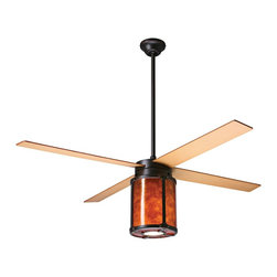"""Period Arts - Arts and Crafts - Mission 52"""" Arcadia Rubbed Bronze and Mica Ceiling Fan - The Arcadia fan was inspired by early 20th Century designs of Dick Van Erp. The design stays true to the West coast Arts & Crafts movement by incorporating hammered metal exposed rivet assembly and a warm mica diffuser. Although authentic in design and appearance these fans offer modern motor design electronic controls and a lifetime motor warranty. It features a rubbed bronze finish motor and maple finish blades. The amber mica shade light kit is fashioned from the naturally occurring mica mineral. Slight variations due to the natural tone and pattern of the mineral make each piece unique. From the Period Arts Fan Company. Rubbed bronze finish motor. Four maple finish blades. Natural mica shade light kit. Lifetime manufacturer motor warranty. Includes wall control. Light kit takes one 100 watt bulb (not included). Overall height 18"""" to 24"""". Includes 3"""" and 9"""" downrods. Canopy 5 1/4"""" wide and 2 1/4"""" height. 52"""" blade span.  Rubbed bronze finish motor.  Maple finish blades.  52"""" blade span.  Lifetime manufacturer motor warranty.  Includes a 3-speed wall control for fan speed and light control.  Natural mica shade light kit.  Includes one 100 watt bulb.  3"""" and 9"""" downrods included.  Overall height 18"""" to 24"""".  Canopy 5 1/4"""" wide and 2 1/4"""" high."""