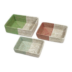 "IMAX - Harvey Two-tone Woven Trays - Set of 3 - Beautifully woven of natural fiber, this set of three trays are a display of brilliant basketry that look fabulous and are functional accessories for any home. Item Dimensions: (17.75-16-14""h x 17-16-14.25""w x 7-10-13"")"