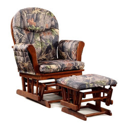 None - Artiva USA Home Deluxe Camouflage Microfiber Cushion Glider Chair and Ottoman Se - Kick back with this comfortable cherry hardwood rocking chair and ottoman from Artiva USA. Decorated in a camouflage fabric,this chair and ottoman would be perfect for any nature enthusiast.