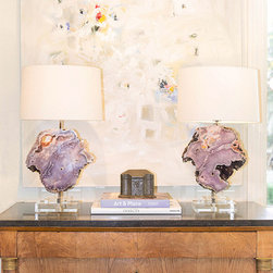 Table Lamps by Alchemy Collection - We create table lamps in limited edition with only the best natural specimens, custom shades, and handcrafted metal mount work and details. Please inquire about available inventory or pieces in production.
