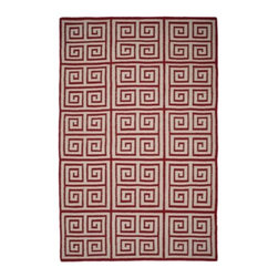Z Gallerie - Crete Dhurrie Rug - Bold and graphic, our Crete Dhurrie Rug layers your floors with the utmost in comfort and style. Greek Key inspired, our Crete Dhurrie Rug showcases a richly hued repetitive motif, resulting in a vibrant and highly styled area rug. Artfully hand woven in India, this lush crimson and natural, 100% wool traditional flat Dhurrie weave rug makes for a stunning complement to a variety of décor settings.