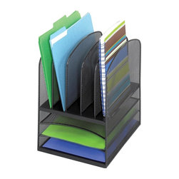 Safco - Onyx Mesh Desk Organizer w 3 Horizontal and 5 Upright Sections - Three fixed horizontal letter trays. holds file folders and small binders. GREENGUARD Certified. Made from steel. Black color. 11.38 in. W x 9.5 in. D x 13 in. H (2 lbs.)Organize with Onyx all over your office! The contemporary style of this mesh organizer goes great whether it's on your desk in your home or office. Mesh also makes a good impression in your reception area, printing area, supply room, mail room, classroom or media center. It's Meshy no more!