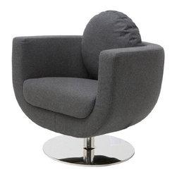 Nuevo Living - Simone Lounge Chair, Dark Grey Wool - Simone Lounge Chair - Dark Grey Wool