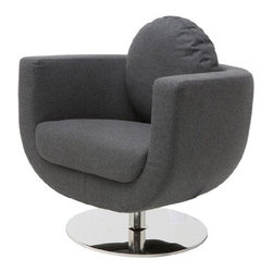 Nuevo Living - Simone Lounge Chair, Dark Grey Wool - Simone Lounge Chair - Dark Grey Wool