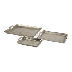 Aluminum Trays - Set of 3 - *Unique in texture, the Lindi Aluminum trays feature a slightly rough texture.