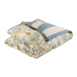 """Mystic Valley - Mystic Valley Traders Cottonwood - Cal King Duvet Cover - The Cottonwood duvet cover is fashioned from the Cumberland fabric, reversing to the railroaded Colony fabric, and finished with a Colony flower flange; it is fully reversible.  As with all Mystic duvet covers, it has a hidden zipper and interior ties in each corner to hold the duvet fast; cal king  98""""x98"""""""