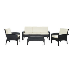 Brook 4-Piece Outdoor Patio Sofa Set - Petite waterfalls lead the way to momentum in this richly depictive piece. Brook blends daringly modern and peacefully quaint elements in a design that portrays a picturesque reality. Brook is comprised of a UV resistant rattan base, a powder-coated aluminum frame and all-weather cushions. The set is perfect for cafes, restaurants, patios, pool areas, hotels, resorts and other outdoor spaces.