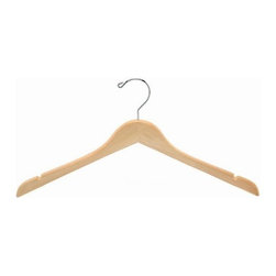 "Only Hangers® - Natural Wood Dress Hangers (Box of 100) - Our dress hangers are our most popular hanger sold. These 17"" Natural Wood Dress Hangers are an obvious and simplistic way to instill a modern vibe to your wardrobe and closet space. The raw color and smooth design of these wooden hangers will undoubtedly enhance the appearance as well as maintain the shape and wearability of your clothing collection. Complete with polished chrome hooks to provide extra strength and durability, these wooden dress hangers are a perfect solution for your fine garments."