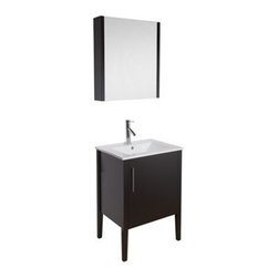 "Vigo Industries - VIGO 24"" Maxine Single Bathroom Vanity with Medicine Cabinet - Espresso - Elegance is at your fingertips with this beautiful VIGO bathroom vanity. No other brand can match VIGO's style, quality and design. This 24-inch freestanding vanity features one large, soft closing door with a sleek vertical chrome finished handle, while the interior features a pull out drawer plus storage shelf. The VIGO Maxine collection is a modern and assertive addition to any bathroom. Features Cabinet is constructed of engineered wood with wood veneers, in an Espresso Black Matte finish, consisting of an anti-scratch surface for enhanced durability. Interior features a pull out drawer plus storage shelf Contains one white porcelain countertop featuring a fully integrated sink with a single hole for easy faucet installation Includes a medicine cabinet with mirror in matching Espresso Black Matte finish with adjustable interior glass shelves Includes solid brass, chrome-plated drain assembly All mounting hardware included Vanity is fabricated for freestanding installation This cabinet is shipped assembled 5 Year Limited Warranty Faucet NOT included How to handle your counterView Spec Sheet"