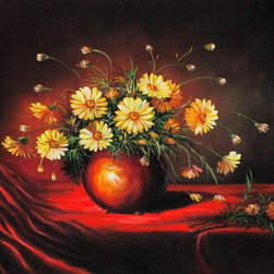 "overstockArt.com - Heade - Yellow Daisies in a Bowl - This is a remarkable oil painting reproduction of a Martin Johnson Heade original ""Yellow Daisies in a Bowl."" Today it has been reproduced with exceptional use of color, detail and brush strokes. This oil painting has a delightful setting that is sure to bring many admirers. Martin Johnson Heade was a prolific American painter known for his salt marsh landscapes, seascapes, portraits of tropical birds, as well as lotus blossoms and other still life images. His painting style and subject matter, while derived from the romanticism of the time, Heade's work was not widely known during his life time. However, his work did attract scholars, art historians, and collectors during the 1940s. He quickly became recognized as a major American artist."