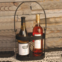 J & J Wire - J & J Wire Strap Iron Wine Caddy Multicolor - 1775 - Shop for Wine Bottle Holders and Racks from Hayneedle.com! Those brown bags you get from liquor stores just don't make very good wrapping paper so package your thoughtful gift of two bottles of wine in the elegant J & J Wire Strap Iron Wine Caddy instead. Constructed of heavy strap iron with a black powder-coat finish this uniquely designed caddy is accented by antique gold grapes for the finishing touch. The sturdy handle makes it easy to transport wine from counter to table for serving. Made in the USA. About J & J Wire Inc.Located at the Industrial Park in Beatrice Nebraska J & J Wire Inc. started 25 years ago as a wire-forming business manufacturing mostly houseware items. Since then the company has grown into a metal fabrication business serving customers in many different manufacturing sectors in the United States and Canada. From quilt racks to wine racks J & J Wire is committed to creating handmade works of art at affordable prices.