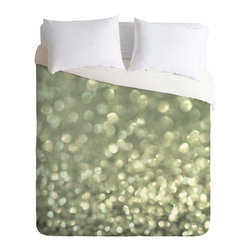 Morning Frost Duver Cover - Like winter sunlight that sparkles on winter frost, this stunning green and silver duvet cover adds a whole new dimension to a seasonal and chic guest room. Even when the frost's long gone, this stylish duvet will still look good. Dress it up with silver cushions or a ivy-green throw and contrast against a rustic wood bed frame.