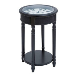 "BZBZ92311 - Wood Table Clock in Rich Black Finish with Stylish Design - Wood Table Clock in Rich Black Finish with Stylish Design. Create a cozy ambience with this set in your living room, balcony or any area that you fancy. It comes with a following dimensions 17""W x 17""D x 26""H."