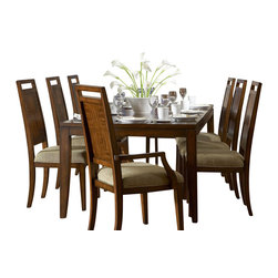 Homelegance - Homelegance Campton 7-Piece Dining Room Set - Offering an updated take on traditional design, the Campton collection is the perfect remix of 60's Retro-contemporary style for your modern dining room. The distinct veneer pattern of the table and chairs is perfectly accented by the three-dimensional functional, asymmetrical geometric pattern on the china base. Weathered bronze vertical hardware and glass accent the china. Wine and tabletop accessory storage feature prominently, while, the subtle sophistication of this retro-contemporary style is further enhanced by the distinct cherry finish.