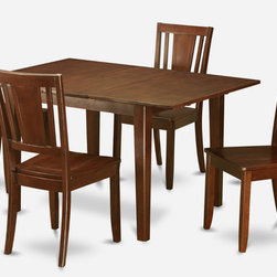 """East West Furniture - Milan 5Pc Set with Dining Table and 4 Dudley Wood Seat Chairs - Milan 5Pc Set with Rectangular Table Featured 12 In Butterfly Leaf and 4 Dudley Wood Seat Chairs; Rectangular dining table is designed in contemporary style with clean angles and sleek lines.; Table and chairs are crafted of fine Asian solid wood for quality and longevity.; Chairs are available with either wooden seats or upholstered seats to suit preference and desired motif.; Table features a standard butterfly leaf for convenient extension.; Ladder back chair style is sturdy, durable, and is ideal for classic decor in any kitchen or dining room.; Dinette sets are available in either rich Mahogany or exquisite Saddle Brown finish.; Weight: 149 lbs; Dimensions: Table: 42 - 54""""L x 36""""W x 29.5""""H; Chair: 18""""L x 18""""W x 38""""H"""