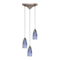 ELK Lighting - Three Light Satin Nickel Starlight Blue Glass Multi Light Pendant - Three Light Satin Nickel Starlight Blue Glass Multi Light Pendant