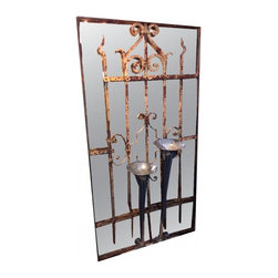 "Mirrored Iron Gate - Cira 1880's iron gate, hand turned, and forged.  This has just the right amount of ""crustique"". With a mirrored back, this beautiful piece of architectural will only add to a room, giving depth and history.measures 30.5"" wide x 56"" tall x 2"" deep"