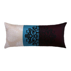 Blooming Home Decor - Black Damask Motif & Purple, Turquoise Bold Stripe Throw Pillow Cover - - Quality 820 thread count light weight fabric
