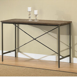 None - Elements Cross-design Grey Sofa Table - Offering the look of reclaimed wood, this Elements sofa table has a weathered grey oak finish. This table features non-mar foot glides and a cross-style frame.