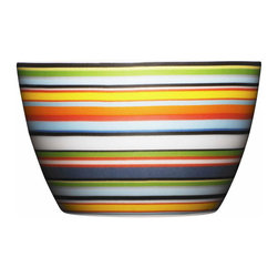 Iittala - Origo Nut Cup Orange - And you thought snacking couldn't get any better. This bright striped ceramic bowl — ideal for nuts, candy, whatever turns you on, treat-wise — offers a far more stylish alternative to munching straight out of the bag.