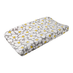 Liz and Roo - Poppy Contoured Changing Pad - Gender neutral gray and yellow in a modern floral pattern.