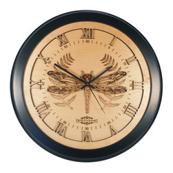 Design & Board, Inc. - Dragonfly Wall Clock - This delicately designed dragonfly and etched fern are beautifully detailed with a clock dial cut in the Roman style.  The Dragonfly Clock offered only by Design & Board is created, crafted and assembled in the U.S..  All our clocks are individually engraved, precision cut and carefully hand assembled. Each piece is made with multiple layers of natural Birch wood and finished with a durable clear lacquer finish to ensure quality.