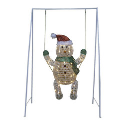 None - 31 x 50-inch Snowman Baby Metal Mesh Outdoor Decoration - Set the tone to your holiday decor with this fun, festive baby snowman decoration. This snowman wears a Santa hat and swings in the wind, lit with clear, mini lights. Easy to assemble, this decoration is collapsible for easy storage.