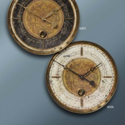 Leonardo Script Black - Weathered, laminated clock face with a cast brass outer rim, brass center components and internal pendulum. Requires 1-AA battery.